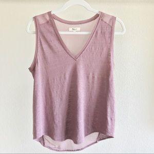 Madewell purple linen muscle Tee/tank top